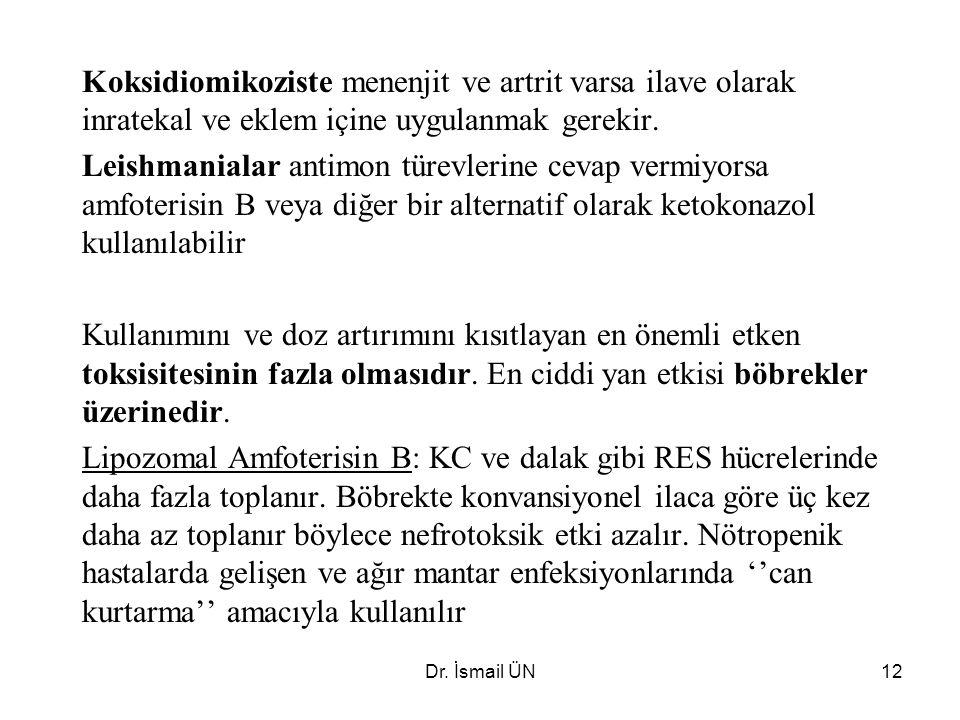 Dr. İsmail ÜN12 Koksidiomikoziste menenjit ve artrit varsa ilave olarak inratekal ve eklem içine uygulanmak gerekir. Leishmanialar antimon türevlerine