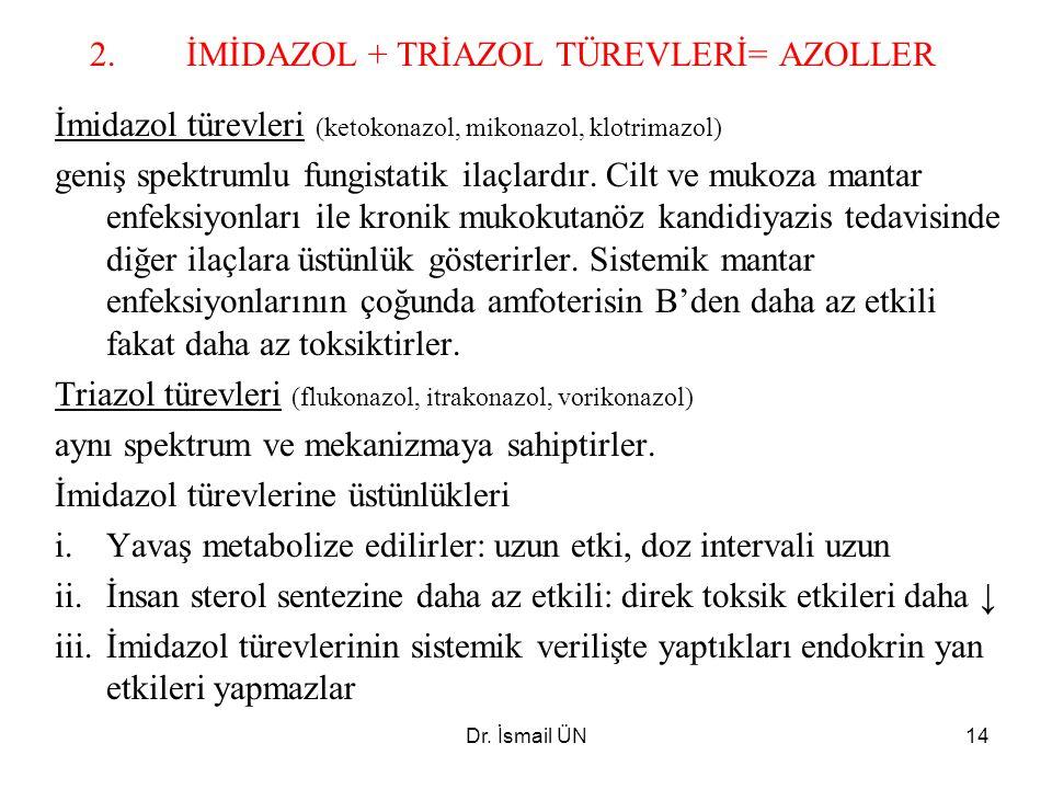 Dr. İsmail ÜN14 2.İMİDAZOL + TRİAZOL TÜREVLERİ= AZOLLER İmidazol türevleri (ketokonazol, mikonazol, klotrimazol) geniş spektrumlu fungistatik ilaçlard
