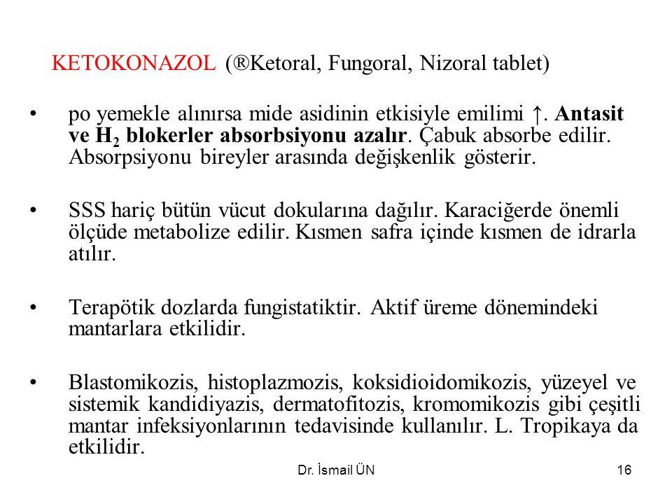 Dr. İsmail ÜN16 KETOKONAZOL (®Ketoral, Fungoral, Nizoral tablet) po yemekle alınırsa mide asidinin etkisiyle emilimi ↑. Antasit ve H 2 blokerler absor