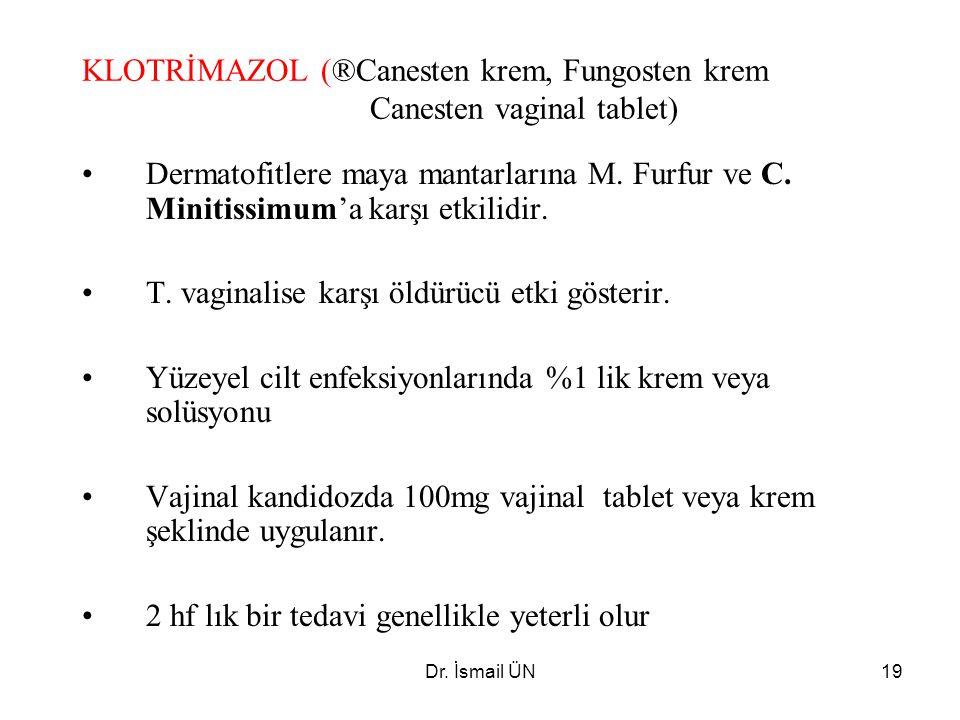 Dr. İsmail ÜN19 KLOTRİMAZOL (®Canesten krem, Fungosten krem Canesten vaginal tablet) Dermatofitlere maya mantarlarına M. Furfur ve C. Minitissimum'a k