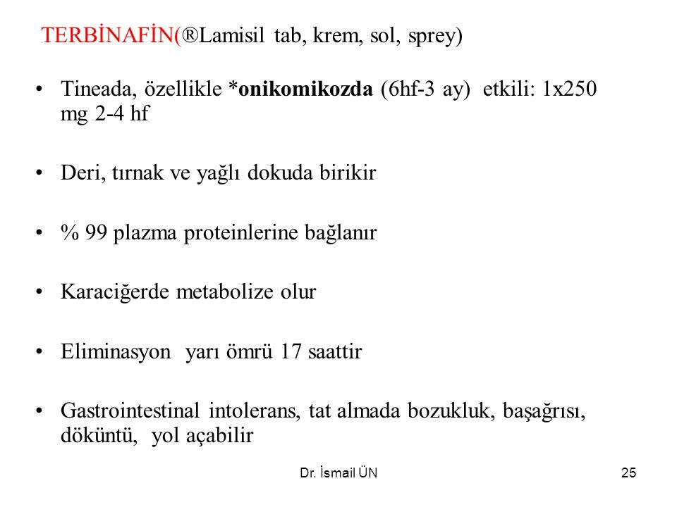 Dr. İsmail ÜN25 TERBİNAFİN(®Lamisil tab, krem, sol, sprey) Tineada, özellikle *onikomikozda (6hf-3 ay) etkili: 1x250 mg 2-4 hf Deri, tırnak ve yağlı d