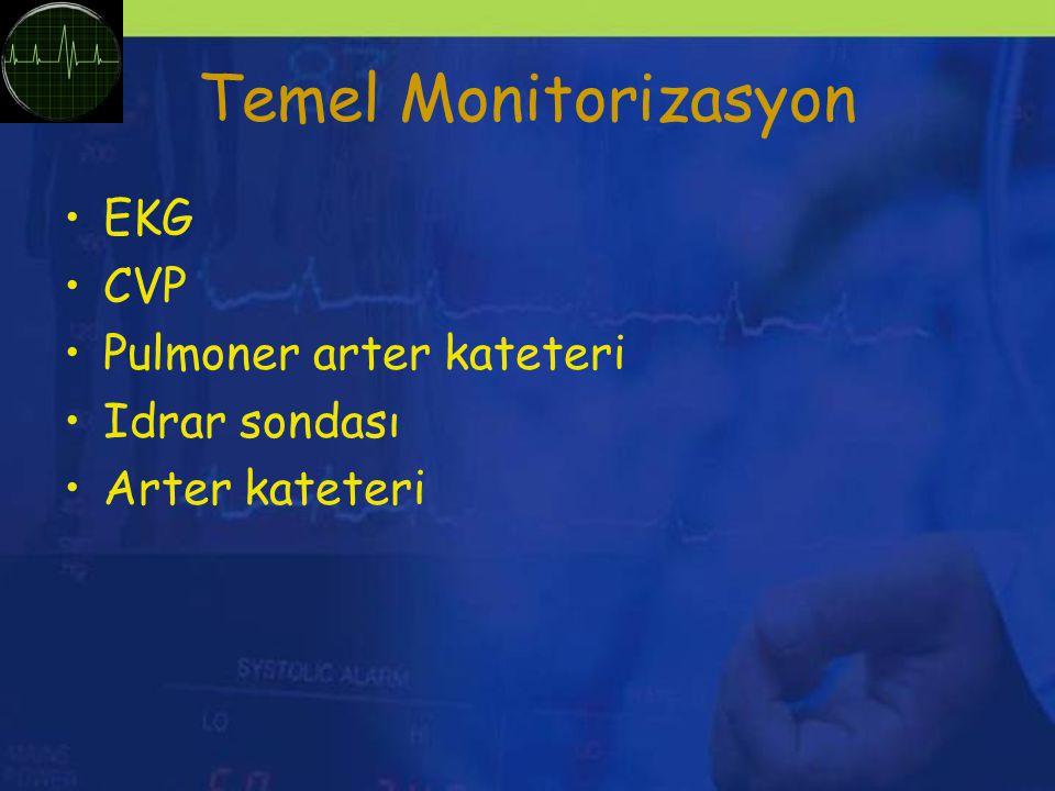 Temel Monitorizasyon EKG CVP Pulmoner arter kateteri Idrar sondası Arter kateteri
