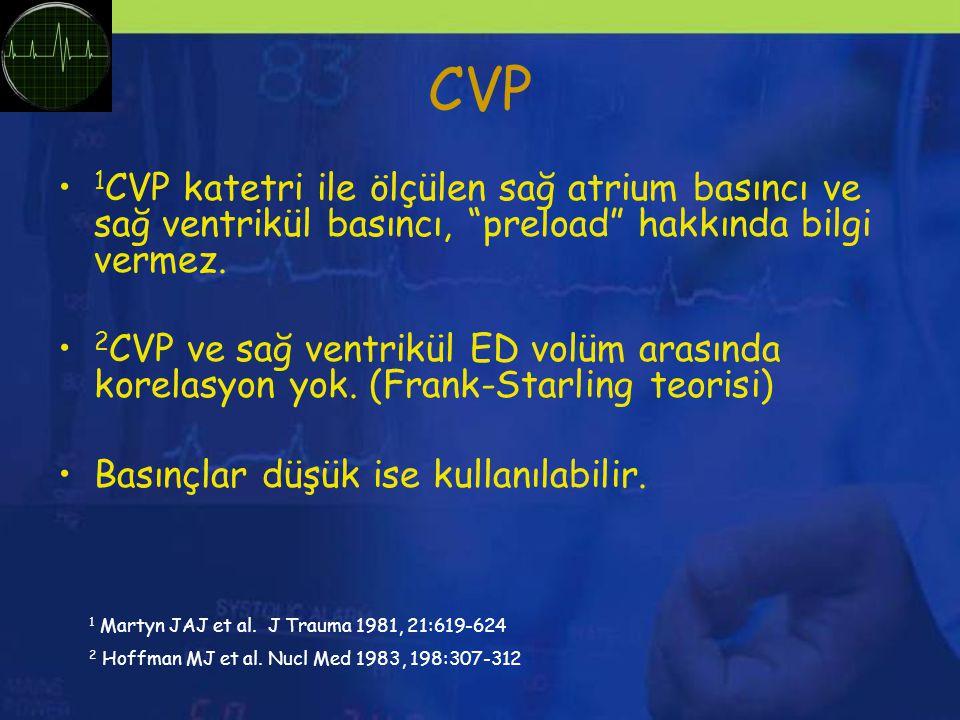 CVP 1 CVP katetri ile ölçülen sağ atrium basıncı ve sağ ventrikül basıncı, preload hakkında bilgi vermez.