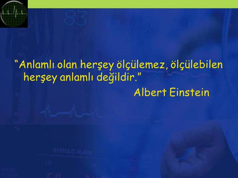 Anlamlı olan herşey ölçülemez, ölçülebilen herşey anlamlı değildir. Albert Einstein