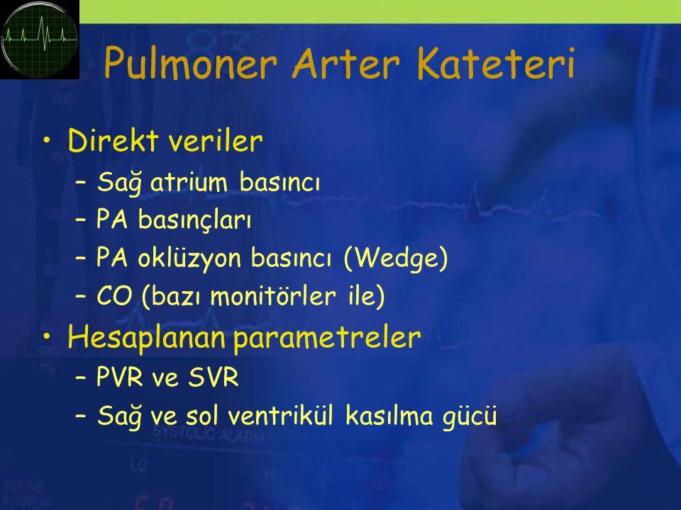 Pulmoner Arter Kateteri Direkt veriler –Sağ atrium basıncı –PA basınçları –PA oklüzyon basıncı (Wedge) –CO (bazı monitörler ile) Hesaplanan parametreler –PVR ve SVR –Sağ ve sol ventrikül kasılma gücü