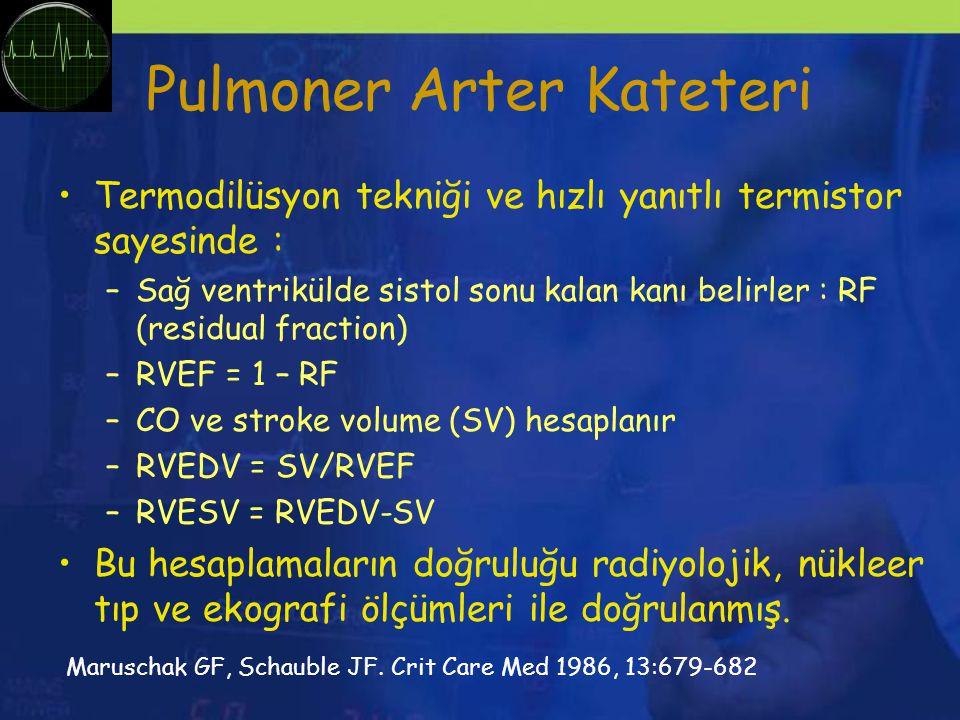 Pulmoner Arter Kateteri Termodilüsyon tekniği ve hızlı yanıtlı termistor sayesinde : –Sağ ventrikülde sistol sonu kalan kanı belirler : RF (residual fraction) –RVEF = 1 – RF –CO ve stroke volume (SV) hesaplanır –RVEDV = SV/RVEF –RVESV = RVEDV-SV Bu hesaplamaların doğruluğu radiyolojik, nükleer tıp ve ekografi ölçümleri ile doğrulanmış.