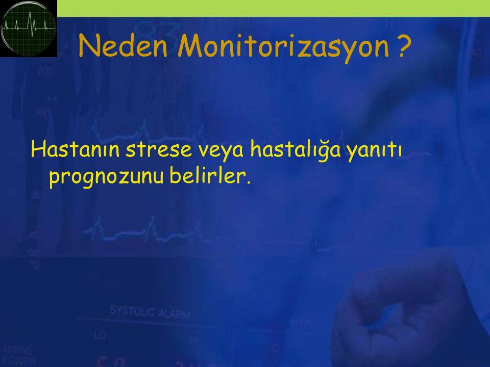 Neden Monitorizasyon ? Hastanın strese veya hastalığa yanıtı prognozunu belirler.