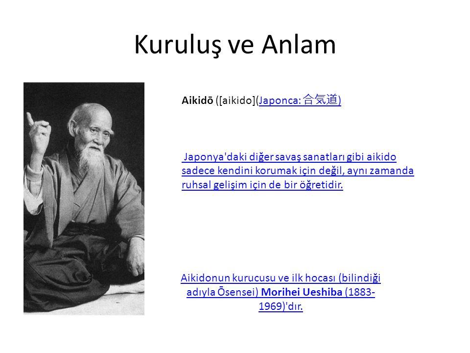 Kuruluş ve Anlam Aikidō ([aikido](Japonca: 合気道 )Japonca: 合気道 ) Japonya daki diğer savaş sanatları gibi aikido sadece kendini korumak için değil, aynı zamanda ruhsal gelişim için de bir öğretidir.
