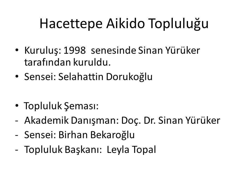 Hacettepe Aikido Topluluğu Kuruluş: 1998 senesinde Sinan Yürüker tarafından kuruldu. Sensei: Selahattin Dorukoğlu Topluluk Şeması: -Akademik Danışman:
