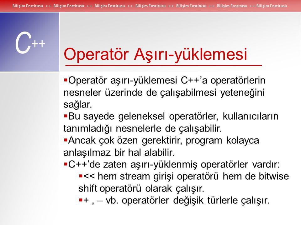 Bilişim Enstitüsü ++ Bilişim Enstitüsü ++ Bilişim Enstitüsü ++ Bilişim Enstitüsü ++ Bilişim Enstitüsü ++ Bilişim Enstitüsü ++ Bilişim Enstitüsü C ++ Operatör Aşırı-yüklemesi  Operatör aşırı-yüklemesi C++'a operatörlerin nesneler üzerinde de çalışabilmesi yeteneğini sağlar.