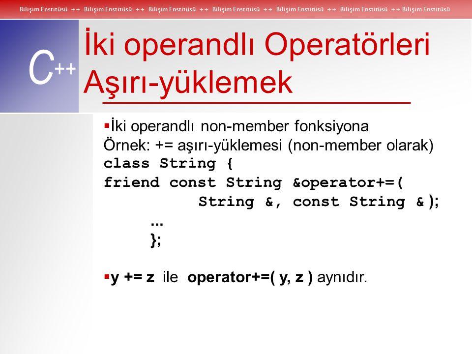 Bilişim Enstitüsü ++ Bilişim Enstitüsü ++ Bilişim Enstitüsü ++ Bilişim Enstitüsü ++ Bilişim Enstitüsü ++ Bilişim Enstitüsü ++ Bilişim Enstitüsü C ++ İki operandlı Operatörleri Aşırı-yüklemek  İki operandlı non-member fonksiyona Örnek: += aşırı-yüklemesi (non-member olarak) class String { friend const String &operator+=( String &, const String & );...