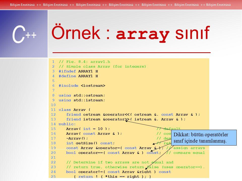 Bilişim Enstitüsü ++ Bilişim Enstitüsü ++ Bilişim Enstitüsü ++ Bilişim Enstitüsü ++ Bilişim Enstitüsü ++ Bilişim Enstitüsü ++ Bilişim Enstitüsü C ++ Örnek : array sınıf 1// Fig.