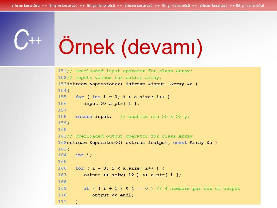 Bilişim Enstitüsü ++ Bilişim Enstitüsü ++ Bilişim Enstitüsü ++ Bilişim Enstitüsü ++ Bilişim Enstitüsü ++ Bilişim Enstitüsü ++ Bilişim Enstitüsü C ++ Örnek (devamı) 151// Overloaded input operator for class Array; 152// inputs values for entire array.