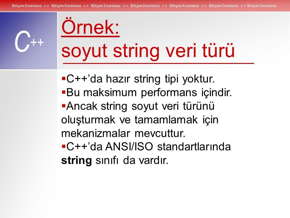 Bilişim Enstitüsü ++ Bilişim Enstitüsü ++ Bilişim Enstitüsü ++ Bilişim Enstitüsü ++ Bilişim Enstitüsü ++ Bilişim Enstitüsü ++ Bilişim Enstitüsü C ++ Örnek: soyut string veri türü  C++'da hazır string tipi yoktur.