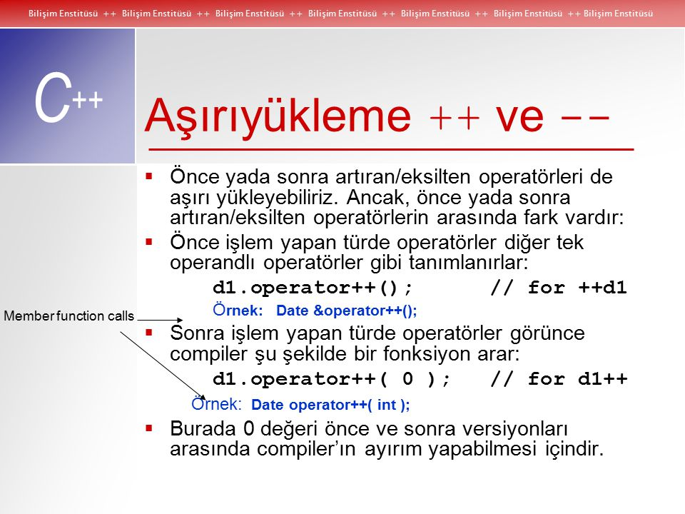 Bilişim Enstitüsü ++ Bilişim Enstitüsü ++ Bilişim Enstitüsü ++ Bilişim Enstitüsü ++ Bilişim Enstitüsü ++ Bilişim Enstitüsü ++ Bilişim Enstitüsü C ++ Member function calls Aşırıyükleme ++ ve --  Önce yada sonra artıran/eksilten operatörleri de aşırı yükleyebiliriz.