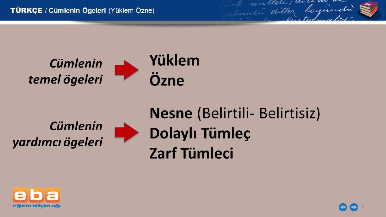 3 Cümlenin temel ögeleri Yüklem Özne Cümlenin yardımcı ögeleri Nesne (Belirtili- Belirtisiz) Dolaylı Tümleç Zarf Tümleci TÜRKÇE / Cümlenin Ögeleri (Yü