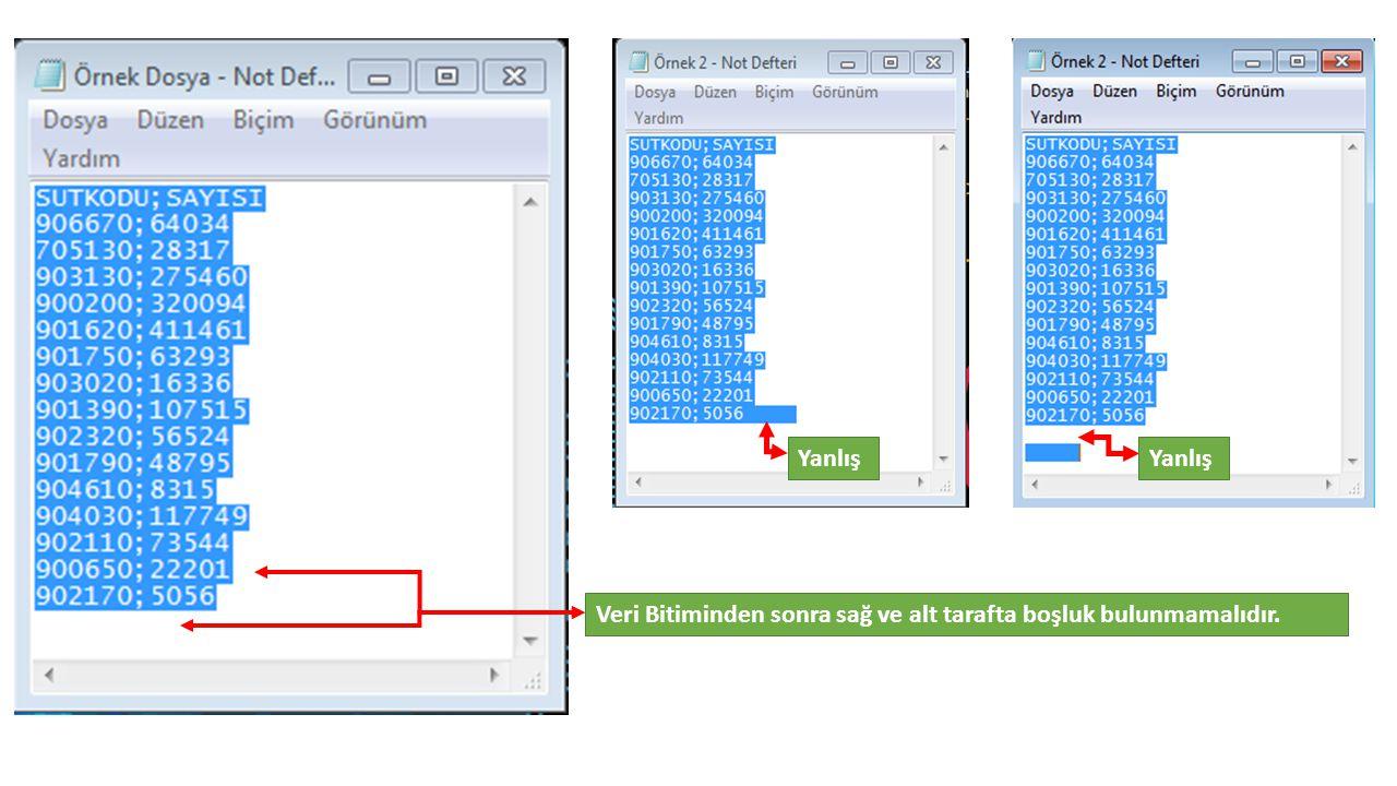 Veri Bitiminden sonra sağ ve alt tarafta boşluk bulunmamalıdır. Yanlış