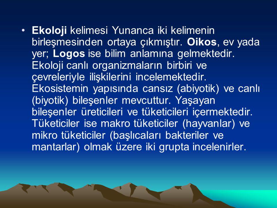 Ekoloji kelimesi Yunanca iki kelimenin birleşmesinden ortaya çıkmıştır. Oikos, ev yada yer; Logos ise bilim anlamına gelmektedir. Ekoloji canlı organi
