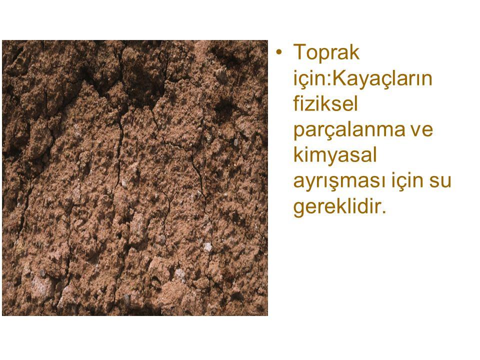 Toprak için:Kayaçların fiziksel parçalanma ve kimyasal ayrışması için su gereklidir.