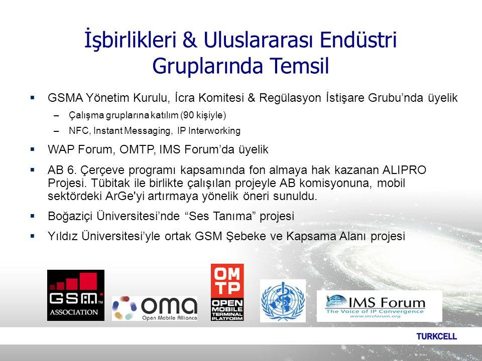  GSMA Yönetim Kurulu, İcra Komitesi & Regülasyon İstişare Grubu'nda üyelik –Çalışma gruplarına katılım (90 kişiyle) –NFC, Instant Messaging, IP Interworking  WAP Forum, OMTP, IMS Forum'da üyelik  AB 6.