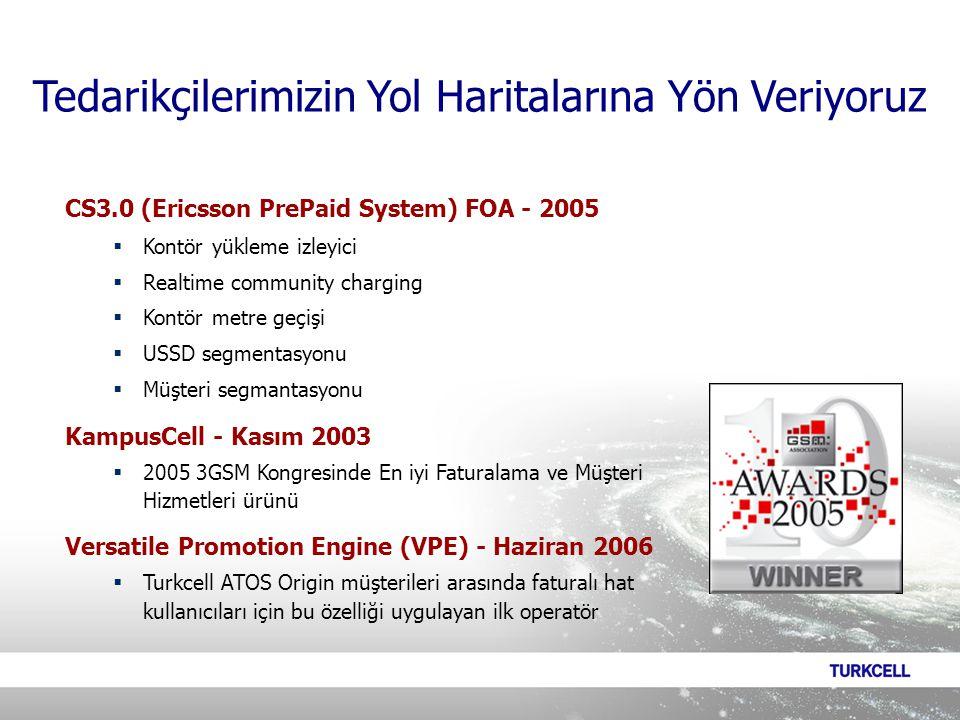 CS3.0 (Ericsson PrePaid System) FOA - 2005  Kontör yükleme izleyici  Realtime community charging  Kontör metre geçişi  USSD segmentasyonu  Müşteri segmantasyonu KampusCell - Kasım 2003  2005 3GSM Kongresinde En iyi Faturalama ve Müşteri Hizmetleri ürünü Versatile Promotion Engine (VPE) - Haziran 2006  Turkcell ATOS Origin müşterileri arasında faturalı hat kullanıcıları için bu özelliği uygulayan ilk operatör Tedarikçilerimizin Yol Haritalarına Yön Veriyoruz