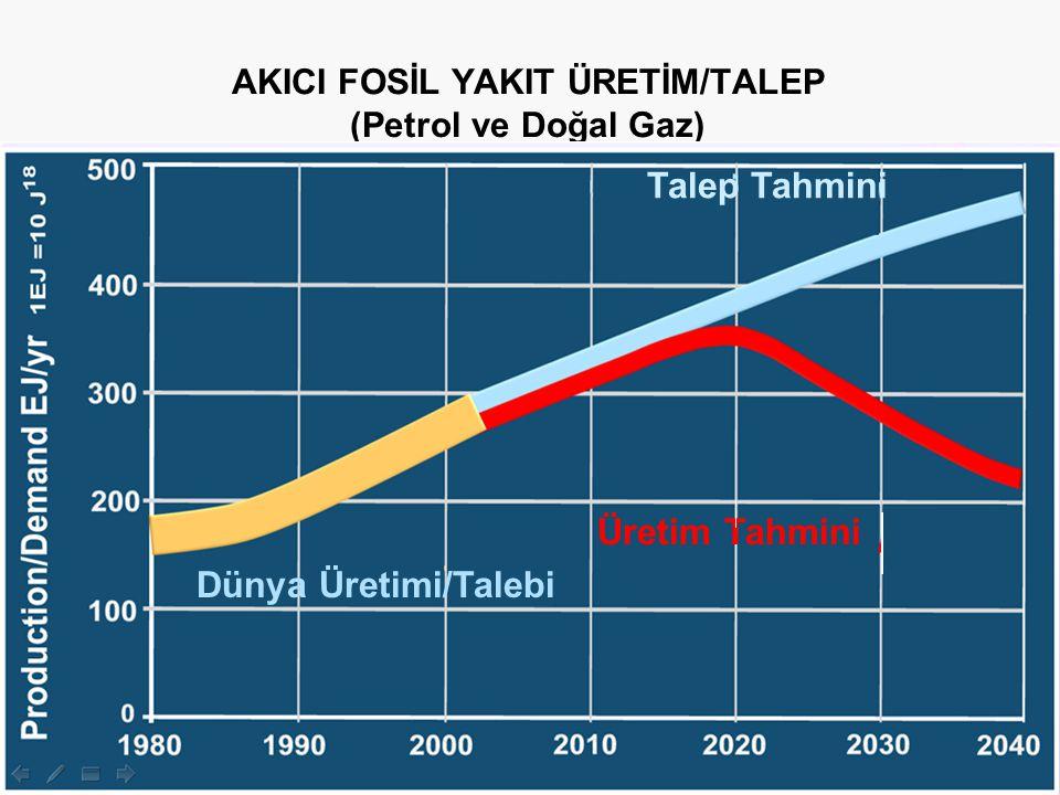 Çevre Yönetimi AKICI FOSİL YAKIT ÜRETİM/TALEP (Petrol ve Doğal Gaz) Dünya Üretimi/Talebi Üretim Tahmini Talep Tahmini