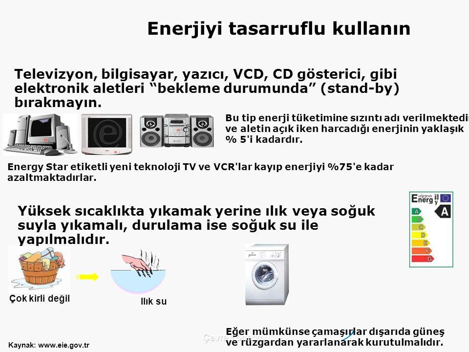 Çevre Yönetimi Televizyon, bilgisayar, yazıcı, VCD, CD gösterici, gibi elektronik aletleri bekleme durumunda (stand-by) bırakmayın.