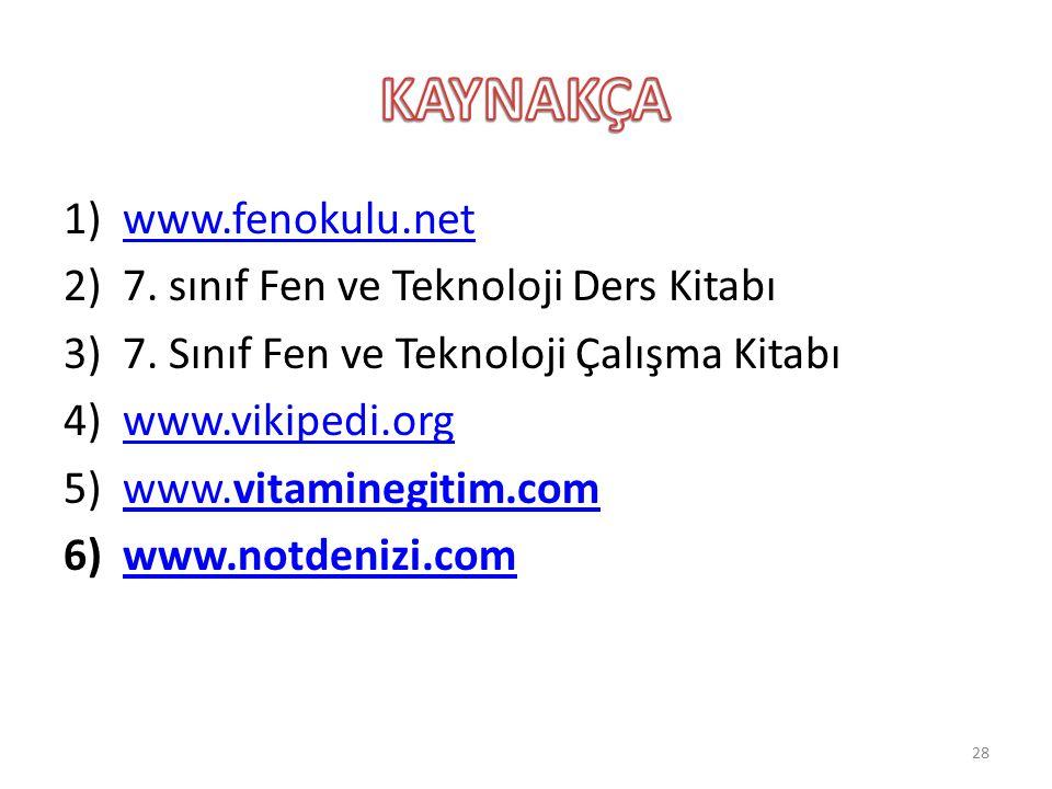 1)www.fenokulu.netwww.fenokulu.net 2)7. sınıf Fen ve Teknoloji Ders Kitabı 3)7. Sınıf Fen ve Teknoloji Çalışma Kitabı 4)www.vikipedi.orgwww.vikipedi.o