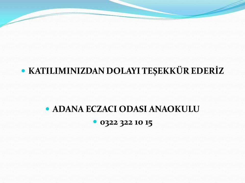 KATILIMINIZDAN DOLAYI TEŞEKKÜR EDERİZ ADANA ECZACI ODASI ANAOKULU 0322 322 10 15