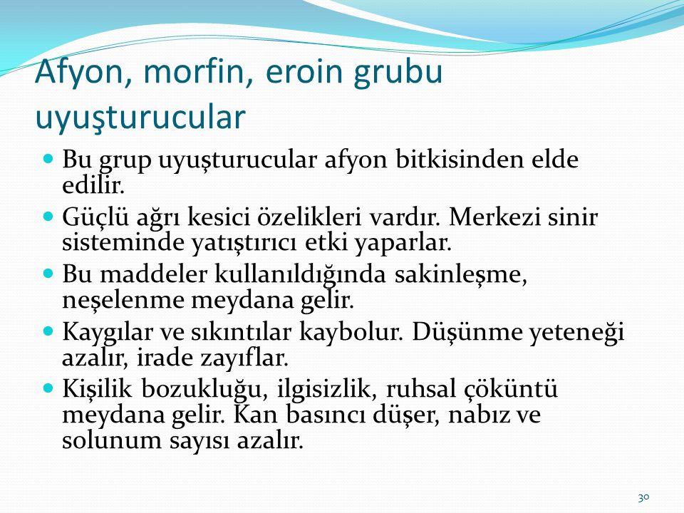 Afyon, morfin, eroin grubu uyuşturucular Bu grup uyuşturucular afyon bitkisinden elde edilir. Güçlü ağrı kesici özelikleri vardır. Merkezi sinir siste