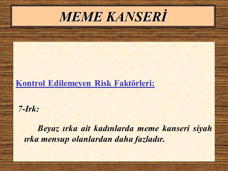 MEME KANSERİ Kontrol Edilebilir Risk Faktörleri: 1-Alkol: Günde iki bardak ve daha fazla alkol alınması durumunda risk artmaktadır.