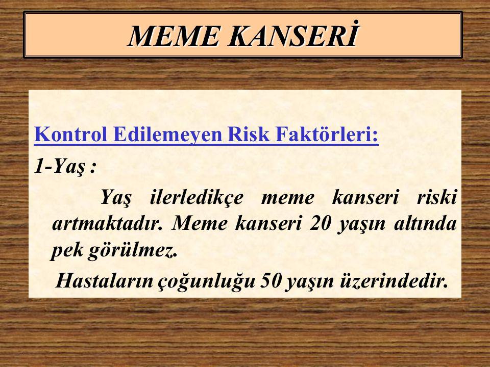 MEME KANSERİ Kontrol Edilemeyen Risk Faktörleri: 2-Cinsiyet.
