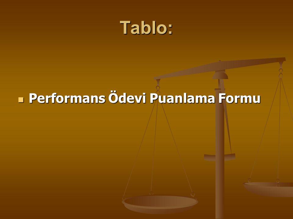 Tablo: Performans Ödevi Puanlama Formu Performans Ödevi Puanlama Formu