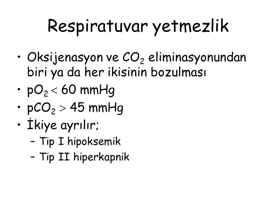Respiratuvar yetmezlik Oksijenasyon ve CO 2 eliminasyonundan biri ya da her ikisinin bozulması pO 2  60 mmHg pCO 2  45 mmHg İkiye ayrılır; –Tip I hi