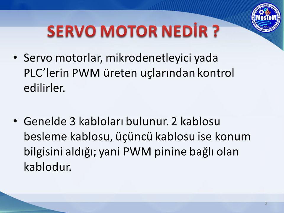 Servo motorlar, mikrodenetleyici yada PLC'lerin PWM üreten uçlarından kontrol edilirler. Genelde 3 kabloları bulunur. 2 kablosu besleme kablosu, üçünc
