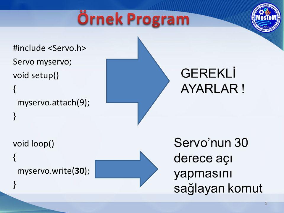 #include Servo myservo; void setup() { myservo.attach(9); } void loop() { myservo.write(30); } 6 GEREKLİ AYARLAR ! Servo'nun 30 derece açı yapmasını s
