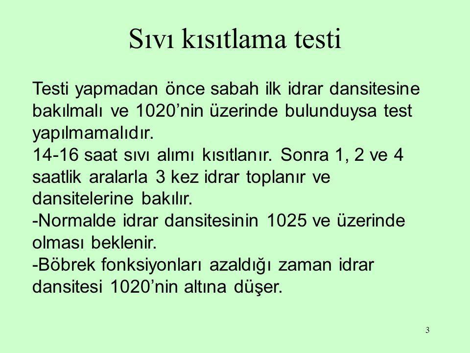 3 Sıvı kısıtlama testi Testi yapmadan önce sabah ilk idrar dansitesine bakılmalı ve 1020'nin üzerinde bulunduysa test yapılmamalıdır.
