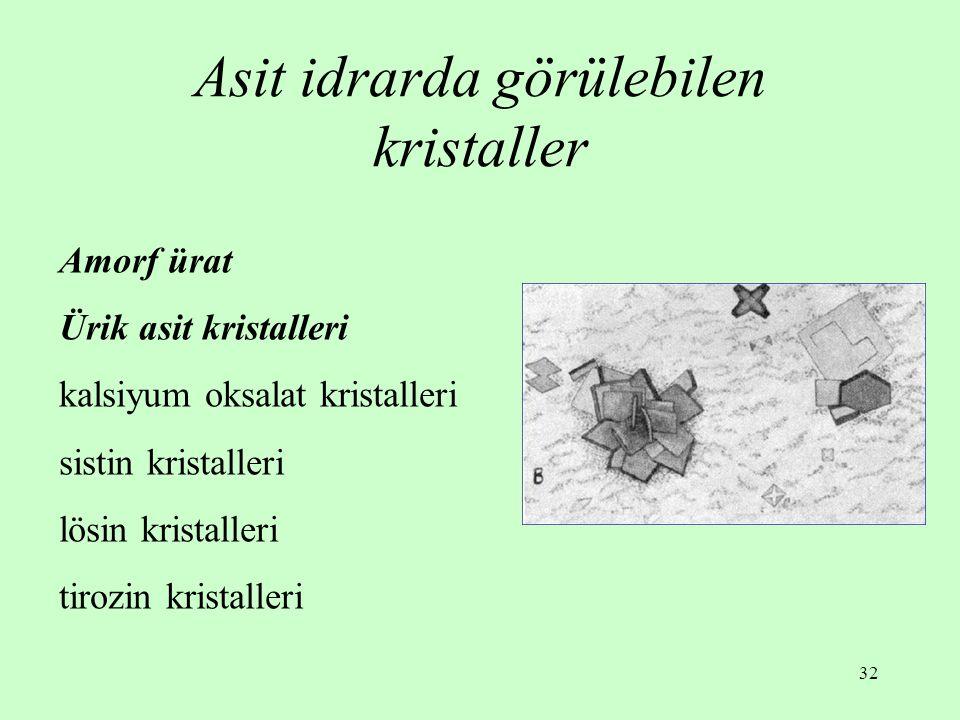32 Asit idrarda görülebilen kristaller Amorf ürat Ürik asit kristalleri kalsiyum oksalat kristalleri sistin kristalleri lösin kristalleri tirozin kristalleri