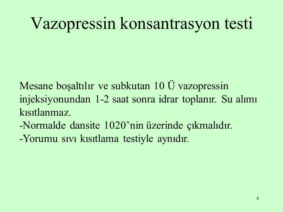 4 Vazopressin konsantrasyon testi Mesane boşaltılır ve subkutan 10 Ü vazopressin injeksiyonundan 1-2 saat sonra idrar toplanır.