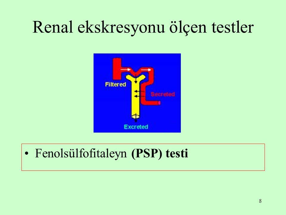 8 Renal ekskresyonu ölçen testler Fenolsülfofitaleyn (PSP) testi