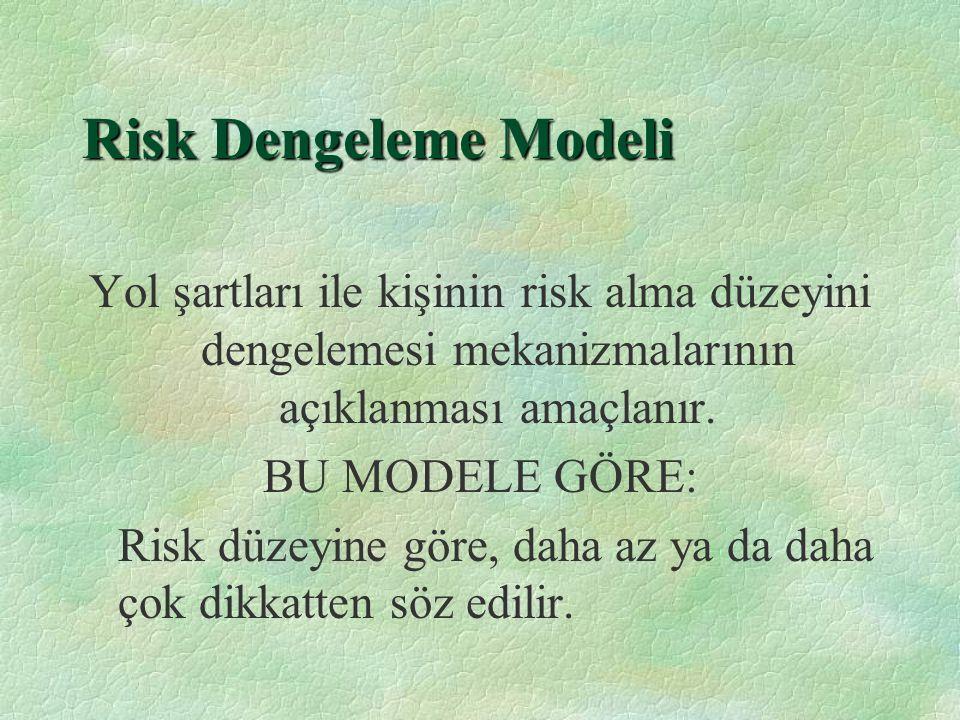 Risk Eşiği Modelleri §Sürücülerin gerçek risk ile algılanan risk arasında kalıcı bir denge kurma teşebbüsü vardır.