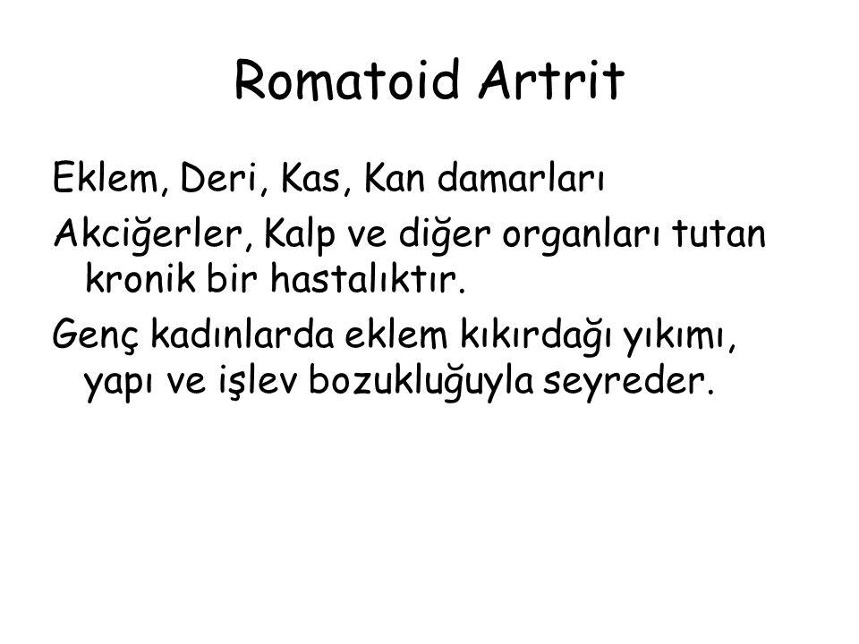 Romatoid Artrit Eklem, Deri, Kas, Kan damarları Akciğerler, Kalp ve diğer organları tutan kronik bir hastalıktır. Genç kadınlarda eklem kıkırdağı yıkı