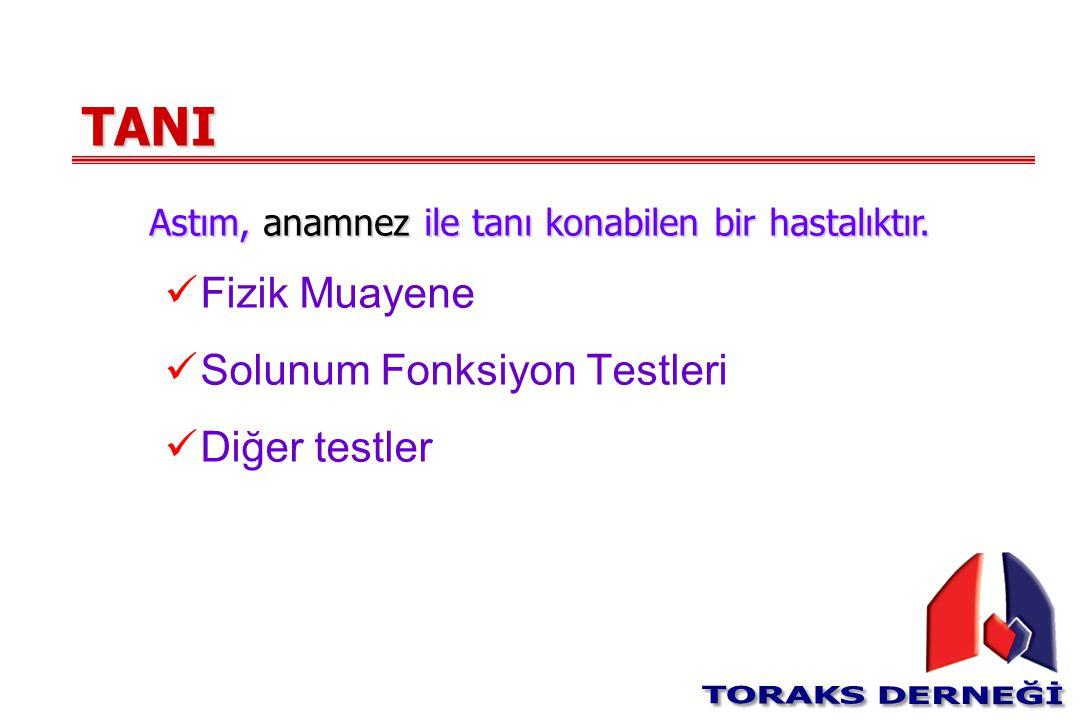 TANI Fizik Muayene Solunum Fonksiyon Testleri Diğer testler Astım, anamnez ile tanı konabilen bir hastalıktır.