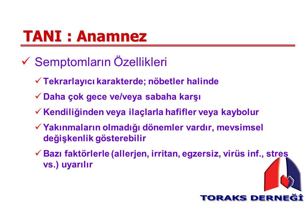 TANI : Anamnez Semptomların Özellikleri Tekrarlayıcı karakterde; nöbetler halinde Daha çok gece ve/veya sabaha karşı Kendiliğinden veya ilaçlarla hafi