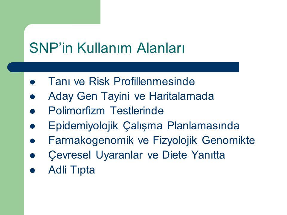 SNP'in Kullanım Alanları Tanı ve Risk Profillenmesinde Aday Gen Tayini ve Haritalamada Polimorfizm Testlerinde Epidemiyolojik Çalışma Planlamasında Fa