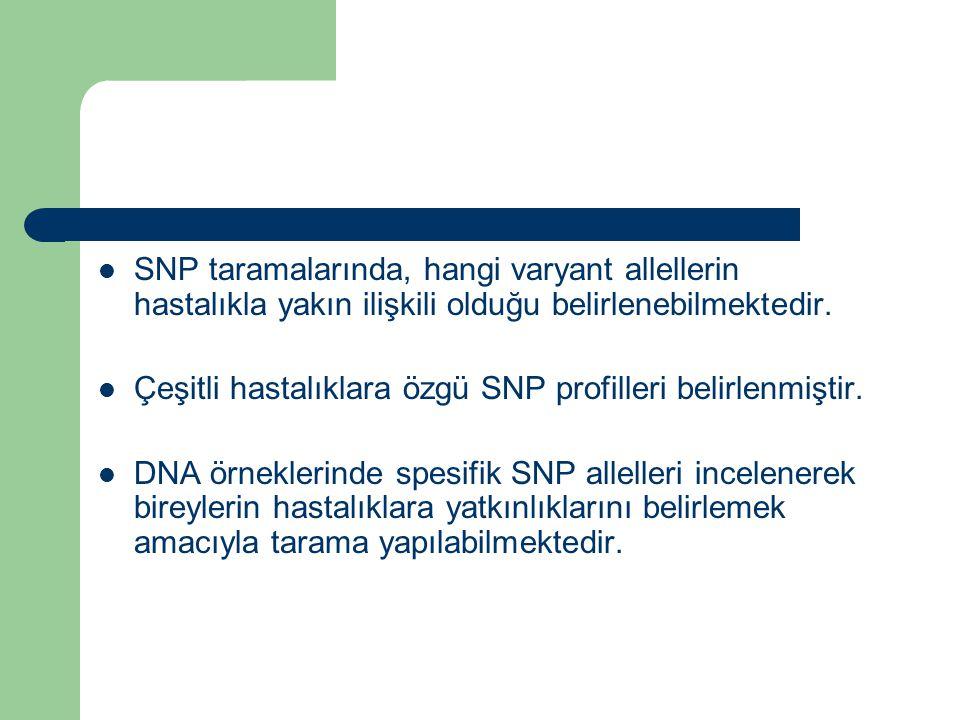 SNP taramalarında, hangi varyant allellerin hastalıkla yakın ilişkili olduğu belirlenebilmektedir. Çeşitli hastalıklara özgü SNP profilleri belirlenmi