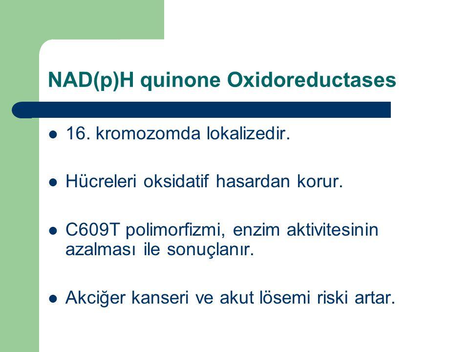 NAD(p)H quinone Oxidoreductases 16. kromozomda lokalizedir. Hücreleri oksidatif hasardan korur. C609T polimorfizmi, enzim aktivitesinin azalması ile s
