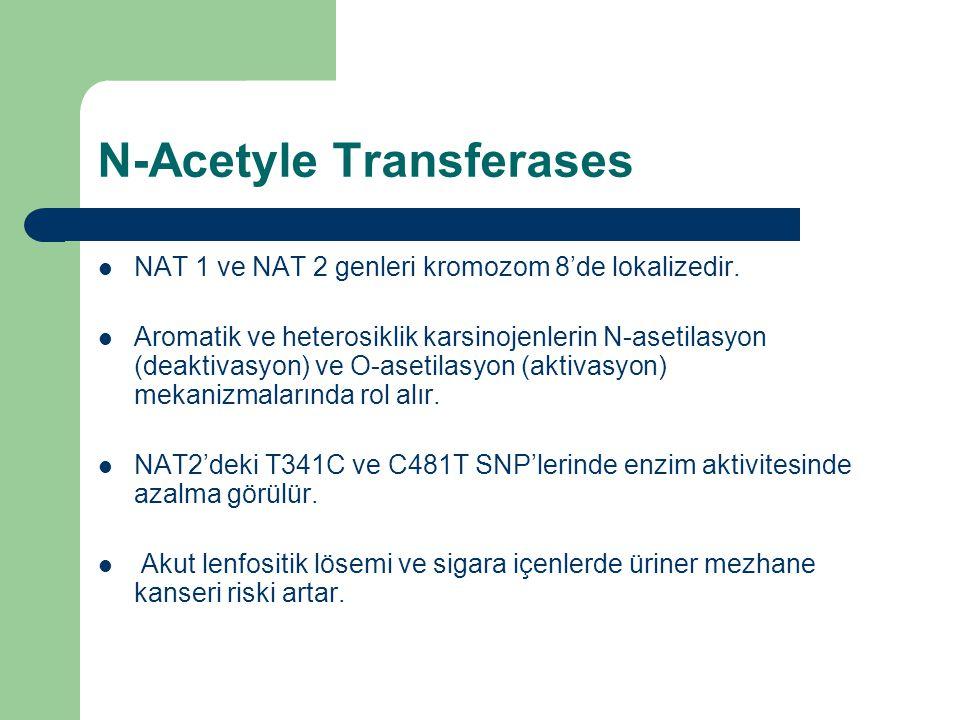 N-Acetyle Transferases NAT 1 ve NAT 2 genleri kromozom 8'de lokalizedir. Aromatik ve heterosiklik karsinojenlerin N-asetilasyon (deaktivasyon) ve O-as