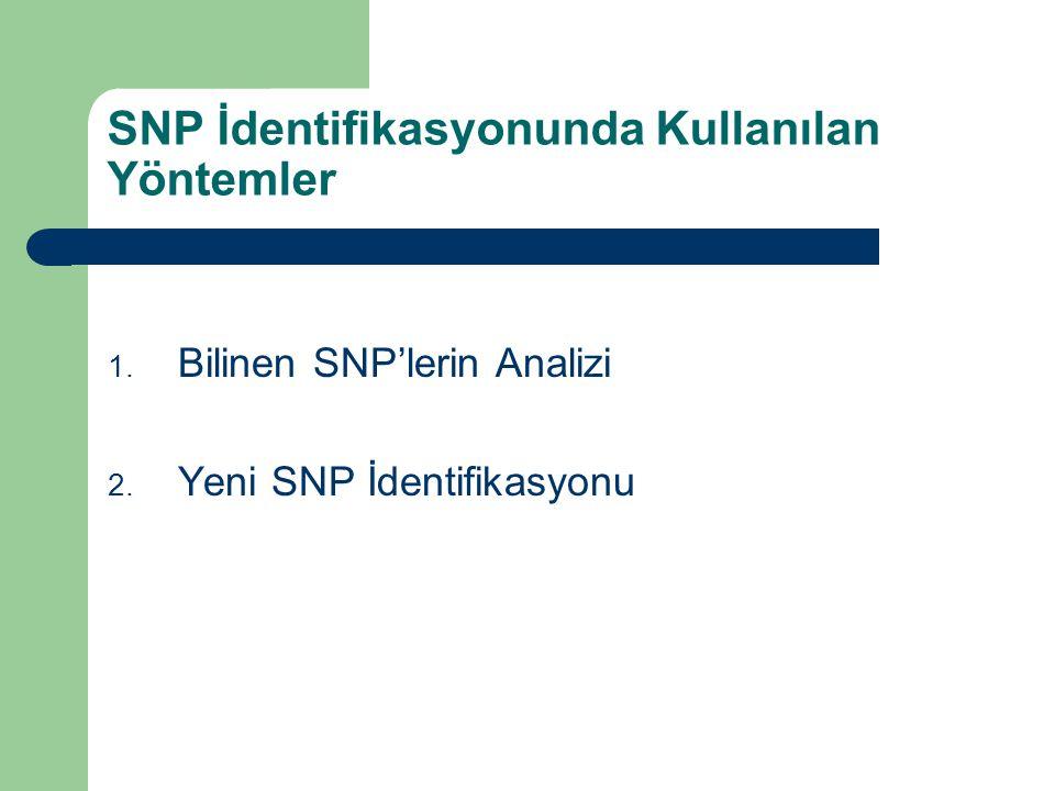 SNP İdentifikasyonunda Kullanılan Yöntemler 1. Bilinen SNP'lerin Analizi 2. Yeni SNP İdentifikasyonu