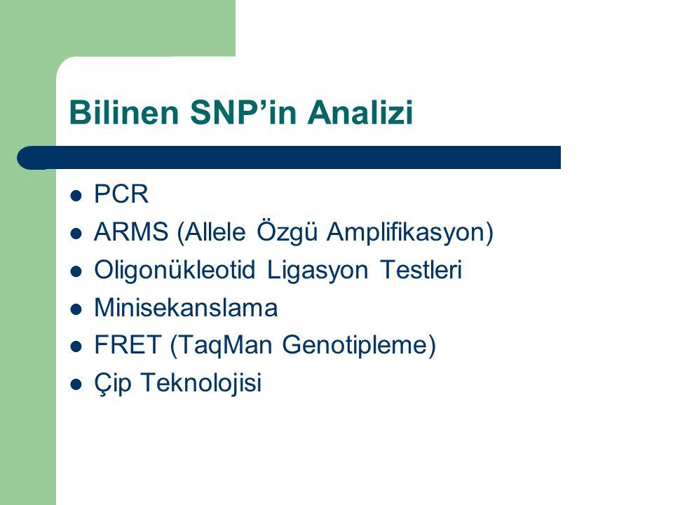 Bilinen SNP'in Analizi PCR ARMS (Allele Özgü Amplifikasyon) Oligonükleotid Ligasyon Testleri Minisekanslama FRET (TaqMan Genotipleme) Çip Teknolojisi